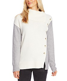 Asymmetrical Button-Front Turtleneck Sweater
