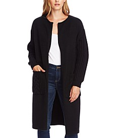 Cable-Stitch Open-Front Cardigan