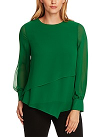Asymmetrical Double-Layer Chiffon Top