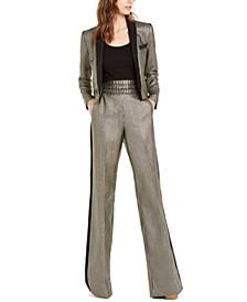 Metallic-Striped Jacket & Pants
