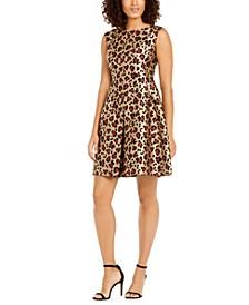 Pleated Leopard-Print Jacquard Dress