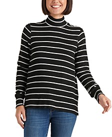 Striped Mock-Neck Top