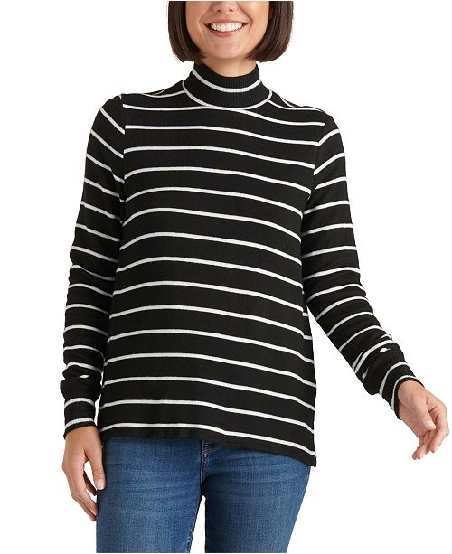 Lucky Brand Striped Mock-Neck Top