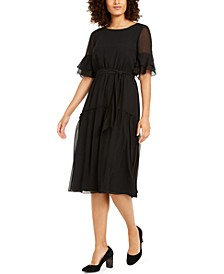 Sheer-Sleeve Midi Dress