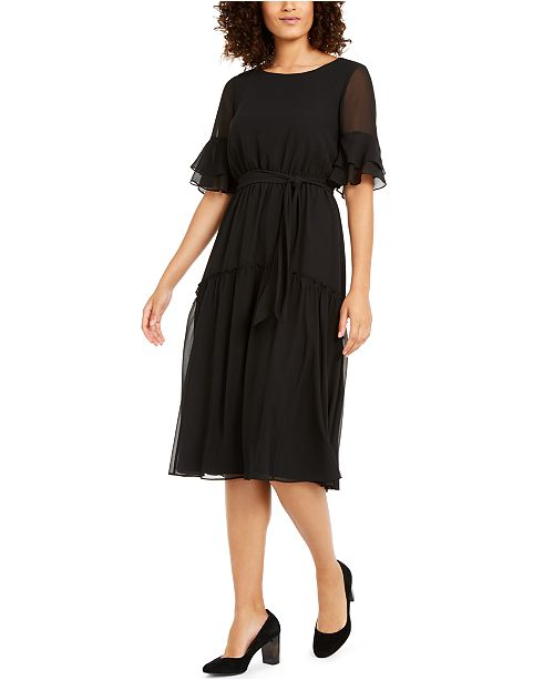 Anne Klein Sheer-Sleeve Midi Dress