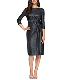 Metallic Knot-Detail Sheath Dress