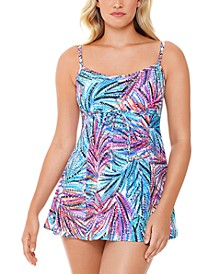Palmalicious Empire Printed Tummy Control Swim Dress, Created For Macy's