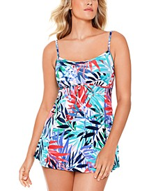 Palm Springs Printed Empire Tummy Control Swimdress, Created For Macy's