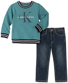 Little Boys 2-Pc. Fleece Logo Top & Jeans Set