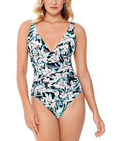 Vintage Bouquet Printed Plunge Tummy Control One-Piece Swimsuit, Created For Macy's