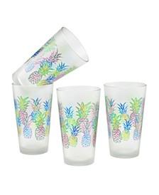 Pop Art Pineapple Pint Glass 16-Ounce Set of 4
