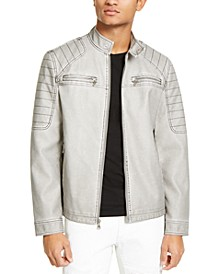 INC Men's Faux-Leather Moto Jacket, Created for Macy's