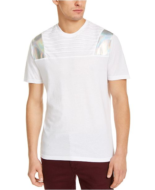 INC International Concepts INC Men's Pintucked Moto T-Shirt with Metallic Faux-Leather Piecing, Created For Macy's