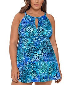 Plus Size Santorini Printed Keyhole Tummy Control Swimdress, Created for Macy's