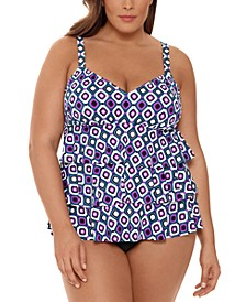 Plus Size Jewels Printed Tiered Tummy Control Fauxkini One-Piece Swimsuit, Created for Macy's