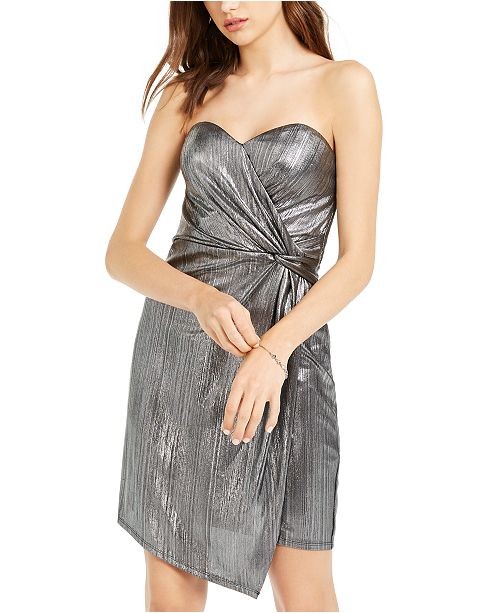 Teeze Me Juniors' Metallic Side-Wrap Dress