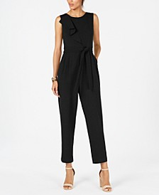 Cascade-Ruffle Belted Jumpsuit