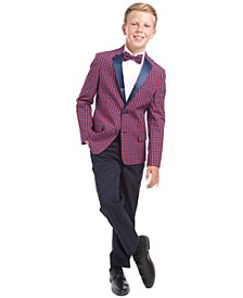 Big Boys 2-Pc. Stretch Poplin Shirt & Plaid Bow Tie Set, Tailored Stretch Holiday Tartan Blazer, Classic-Fit Velvet Suit Vest & Alexander Dress Pants