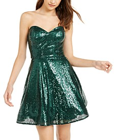 Juniors' Strapless Sequin Dress