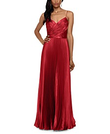 Pleated Satin Grecian Gown