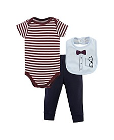 Baby Boy Bodysuit, Pant and Bib
