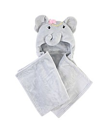 Plush Hooded Blanket, Blossom Elephant