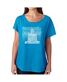 Women's Dolman Cut Word Art Shirt - Zen Buddha
