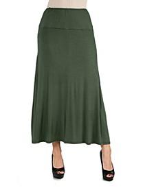 Women Elastic Waist Solid Color Maxi Skirt