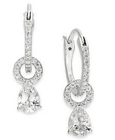 Silver-Tone Cubic Zirconia Layla E-Z Lock Hoop Drop Earrings, Created For Macy's