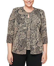 Plus Size Glitter-Print Jacket & Top Set
