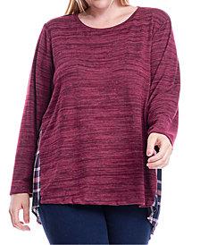 Fever Plus Size Knit & Plaid Top