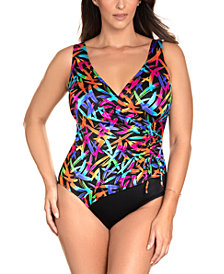 Swim Solutions Longitude Sparkler Printed Ruched Long Torso Tummy Control One-Piece Swimsuit, Created for Macy's
