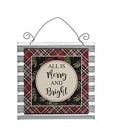 Metal/Wood Plaid Christmas Sign