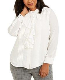 Plus Size Ruffled Button-Front Top