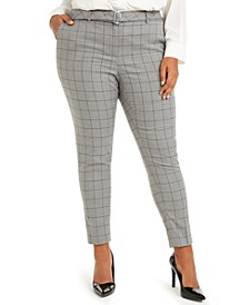 Plus Size Belted Windowpane-Print Slim-Leg Pants