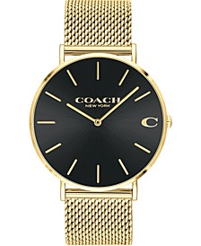 Men's Charles Gold-Tone Mesh Bracelet Watch 36mm, Created For Macy's