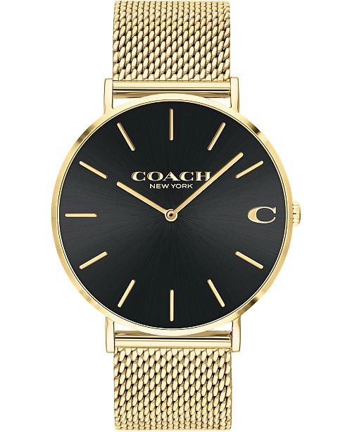 COACH Men's Charles Gold-Tone Mesh Bracelet Watch 36mm, Created For Macy's