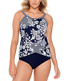 Swim Solutions Crossover Tankini Top & Bottoms, Created for Macy's