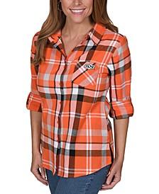 UG Apparel Oklahoma State Cowboys Flannel Boyfriend Plaid Button Up Shirt