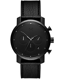 Men's Chronograph Black Leather Strap Watch 40mm