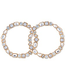 Medium Gold-Tone Crystal Front-Facing Medium Hoop Earrings 1.75""""