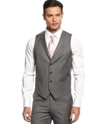 Alfani Mid-Grey Stepweave Slim-Fit Vest - Blazers & Sport Coats