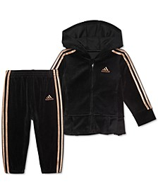 Baby Girls 2-Pc. Velour Pleated Hoodie & Jogger Pants Set