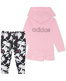 Baby Girls 2-Pc. Jersey Hoodie & Printed Leggings Set