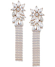 Gold-Tone Crystal Flower Chain Fringe Linear Earrings