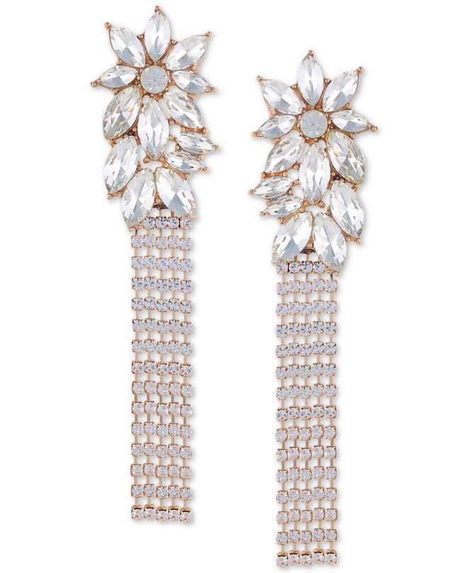 GUESS Gold-Tone Crystal Flower Chain Fringe Linear Earrings