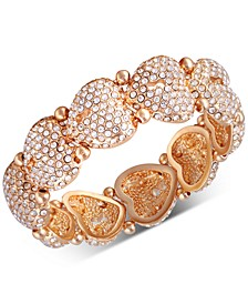 Gold-Tone Crystal Heart Stretch Bracelet