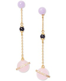 Gold-Tone Crystal & Beaded Linear Earrings
