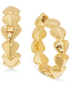 Small Gold-Tone Heart Extra-Small Huggie Hoop Earrings, .19""