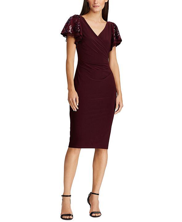 Lauren Ralph Lauren Sequin-Sleeve Jersey Dress